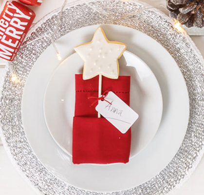 Christmas place setting idea using red silver and a personal touch